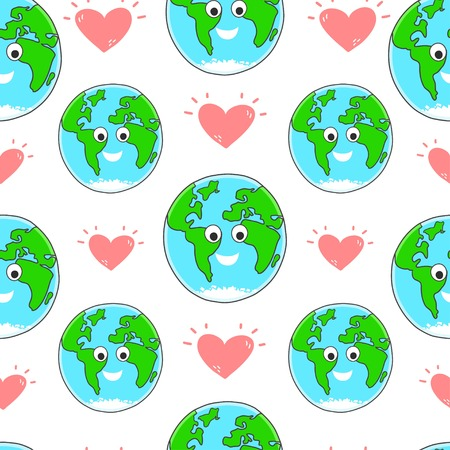 earth day: Happy Earth day vector seamless pattern. Earth day background. Illustration