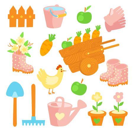 Garden flat set vector icons. Profession Farmer Illustration