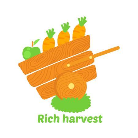Rich harvest vector illustration. Profession Farmer illustration.
