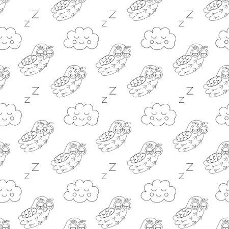 owlet: Sleep owlet vector seamless pattern. vector illustration owl. Illustration