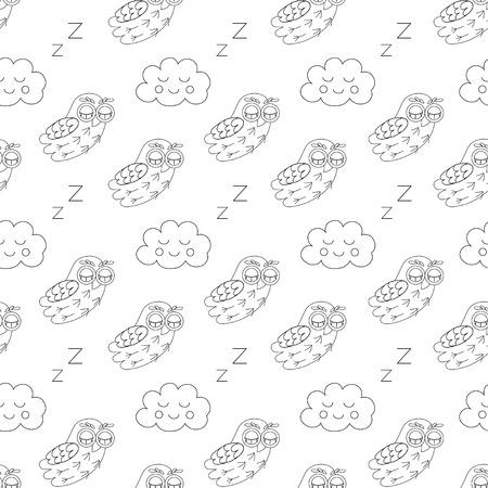 owlet: Sleep owlet vector seamless pattern. vector illustration owl. Illustration