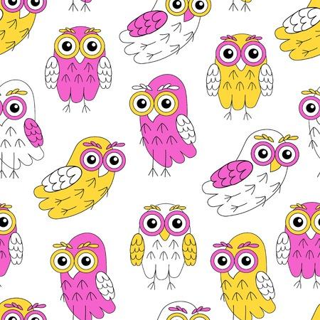 owlet: Owlet vector seamless pattern. vector illustration owl. Illustration