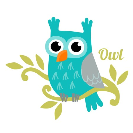 owl illustration: Owl isolated vector illustration. Cute cartoon owl. Trendy owl