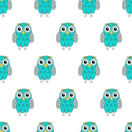 owlet: Owlet turquoise vector seamless pattern. vector illustration owl. Illustration