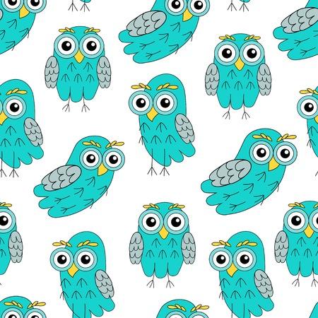 owlet: Owlet turquoise vector seamless pattern. vector illustration owl. Illustration