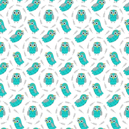 owlet: Owl turquoise seamless pattern. Illustration