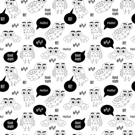 who: Set owl bubbles isolated on white background. Owl with bubbles Hi, Owl with bubbles Hello, Owl with bubbles Who, Owl with bubbles Goodnight