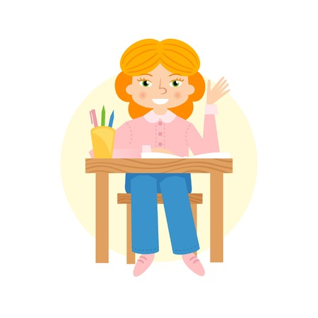 miserable: Schoogirl raising hand flat cartoon illustration