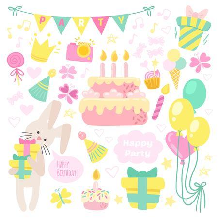 Birthday celebration attributes icons Illustration