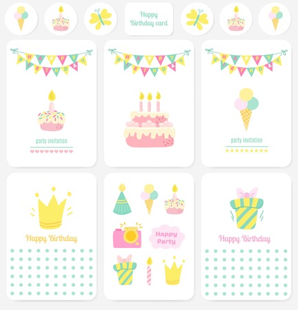 birthday party: Happy Birthday cards, notes. Party Birthday background
