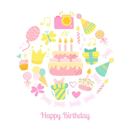 birthday party: Happy Birthday icons. Party background Illustration