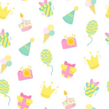 wine gift: Birthday celebration seamless pattern. Party Birthday background