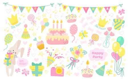 donative: Happy birthday celebration attributes icons. Party background