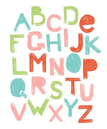 Alphabet scratch color vector. grunge style. English alphabet