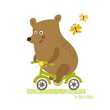 Bear to ride a bike vector illustration. Animals  sport background Illustration