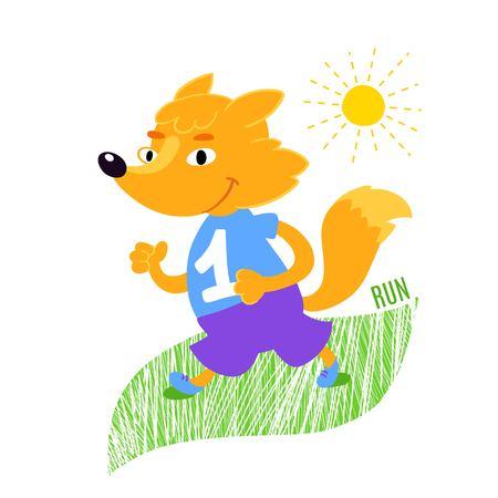 scamper: Fox runs vector illustration. Animals  sport background