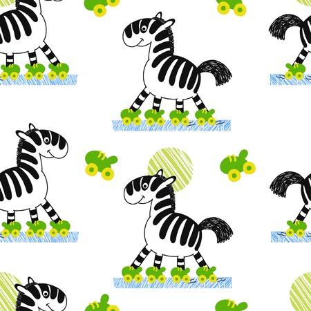 roller skating: Zebra roller skating vector seamless pattern. Animals  sport background Illustration
