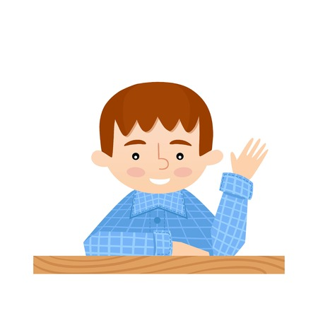 raises: Student sitting at her desk raises her hand. School background