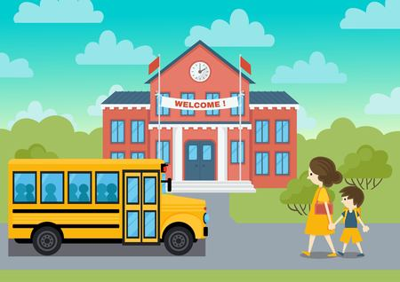welcom: School building and yeollow bus and schoolchild vector  illustration. Welcom school