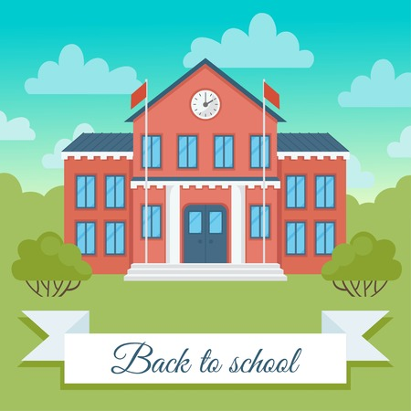 School building  vector  illustration. Back to school background. First day of school