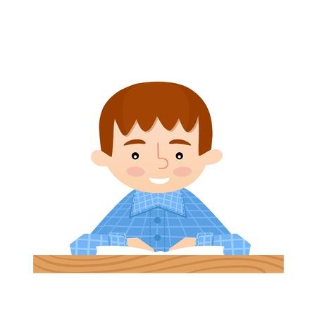 schoolkids: Student sitting at her desk read book. School background