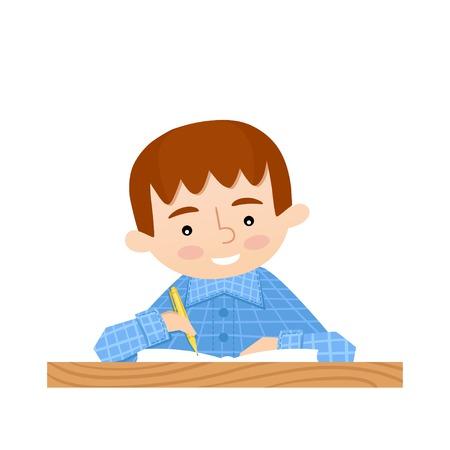 schoolkids: Schoolchild writes in a notebook. School background Illustration