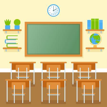 School classroom with chalkboard vector flat illustration. Education