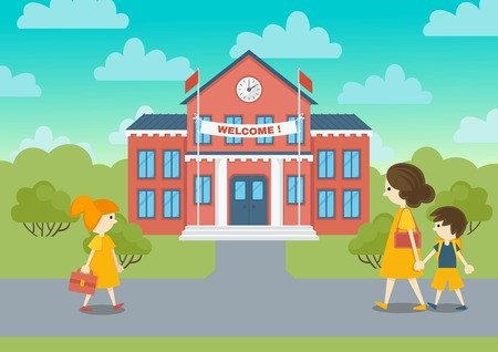first house: School building and schoolchild vector illustration. Welcome to school