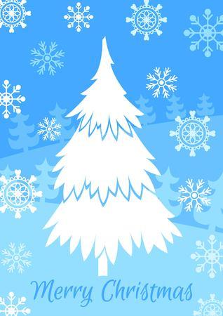 christmas tree illustration: White christmas tree vector illustration. Merry Christmas. Illustration