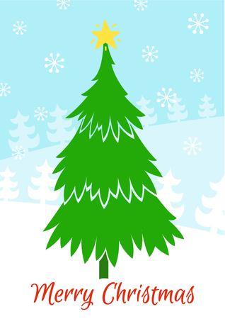 christmas tree illustration: Green christmas tree vector illustration. Merry Christmas.