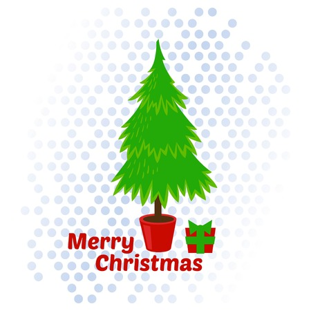 christmas tree illustration: Christmas tree vector illustration. Merry vector Christmas.