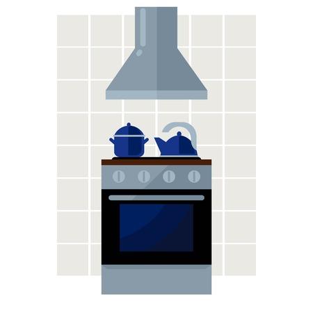 kitchen stove: Kitchen stove flat vector illustration. Kitchen background