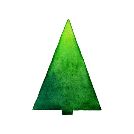 Christmas tree watercolor vector illustration. Stylization watercolor Illustration
