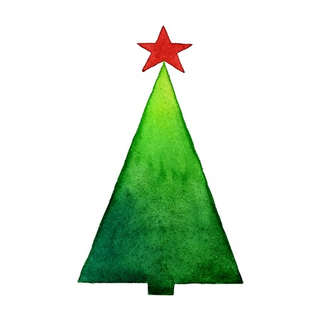 christmas tree illustration: Christmas tree watercolor vector illustration. Stylization watercolor Illustration