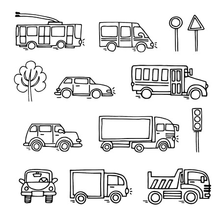 omnibus: Sketch urban transportation vector set icons. Ground  transportation Illustration