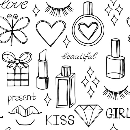 Fashion vector seamless pattern. Beauty vector background
