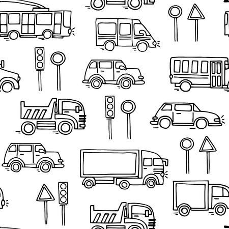 trackless: Sketch urban transportation vector seamless pattern. Ground  transportation Illustration