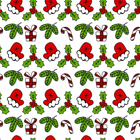 Christmas color vector seamless pattern. Christmas mistletoe and presents box vector seamless pattern.