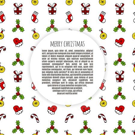 Conjunto De Color De Bosquejo De Marco De Navidad Ilustración ...