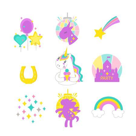 Unicorn vector illustration patch badges vector isolated on white background. Childish unicorn design.