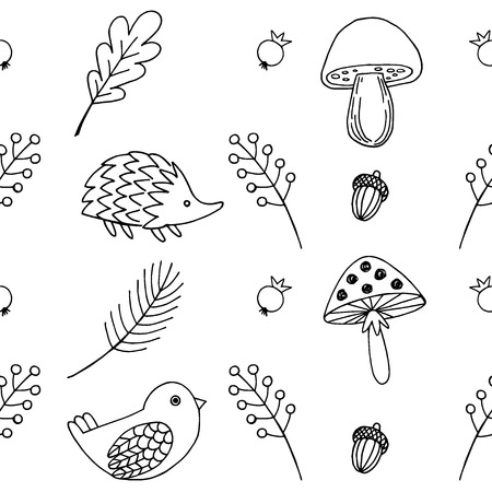 Forest animals vector seamless pattern.