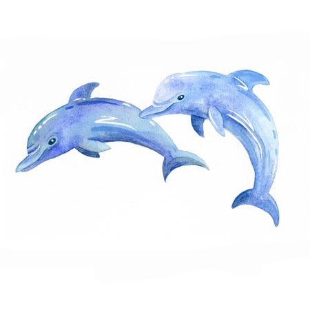 Dolphin watercolor raster. Foto de archivo - 103112451