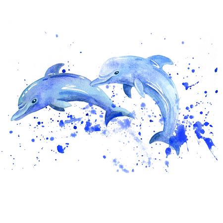 Dolphin watercolor raster. Animals underwater world raster. Foto de archivo - 103958000