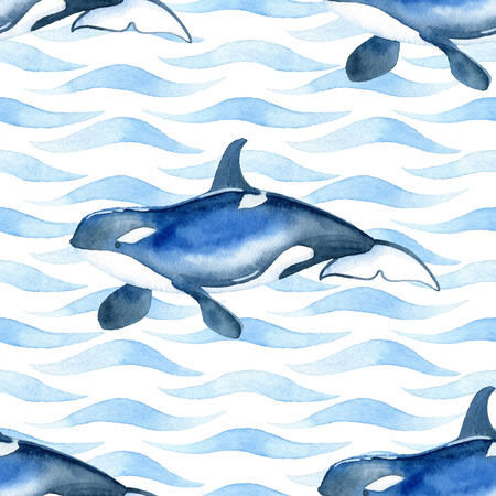 Killer Whale watercolor raster seamless pattern.