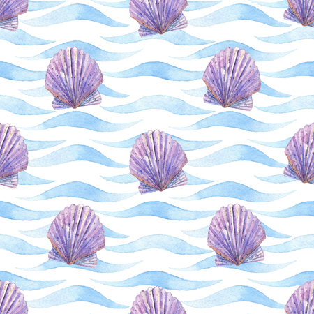 Shell watercolor raster seamless pattern