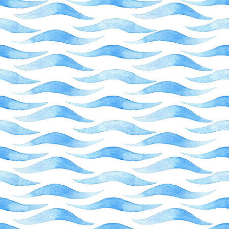 Wave watercolor raster seamless pattern. Imagens