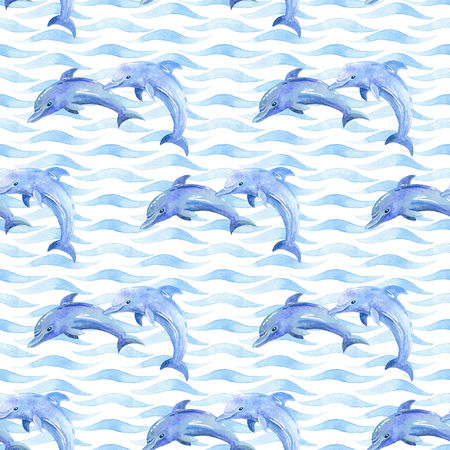 Dolphin watercolor raster seamless pattern. Stock Photo - 104577574