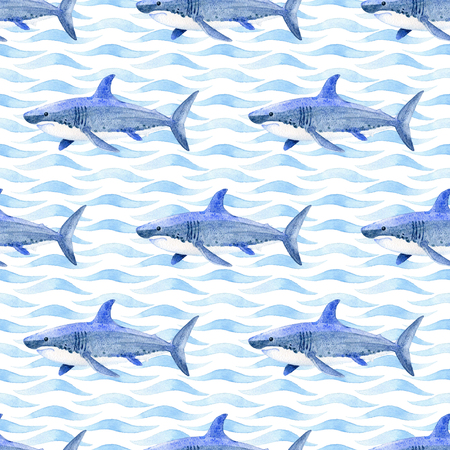 Whale watercolor raster seamless pattern. Imagens
