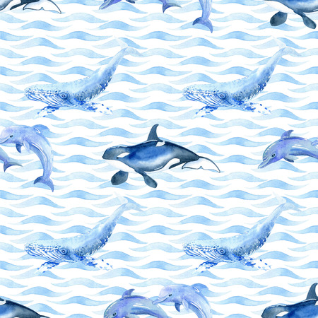 Dolphin,  shark, whale, killer whale watercolor raster seamless