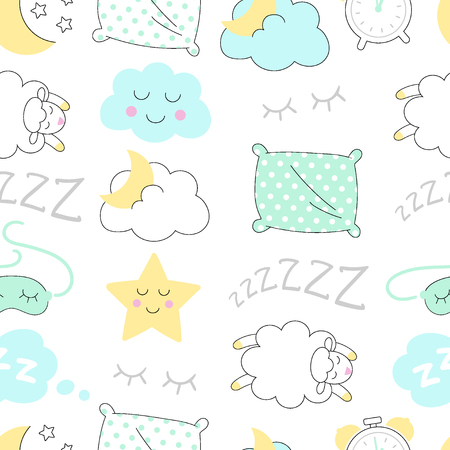 Sleep time sketch seamless vector pattern.